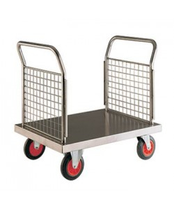 Stainless Steel Platform Truck with Double Mesh End Panel