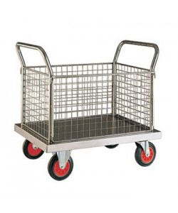 Stainless Steel Platform Truck with Four Mesh End Panel