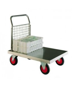 Stainless Steel Platform Truck with Single Mesh End Panel