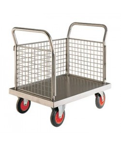 Stainless Steel Platform Truck with Three Mesh End Panel