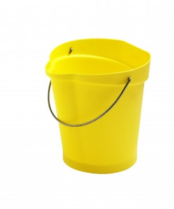 Plastic bucket with stainless steel handle