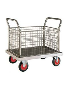 Stainless Steel Platform Truck - 4 Sided Mesh - SP604M